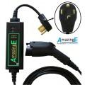 AmazingE brand EV charger close up of NEMA 14-30 plug and station and sae j1772 connector