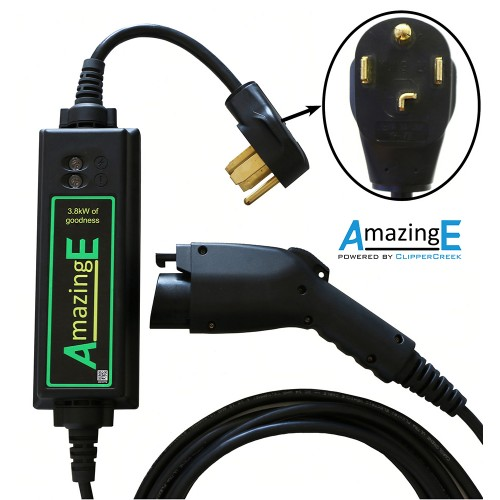 AmazingE brand EV charger close up of NEMA 14-30 plug and station and sae j1772 connector
