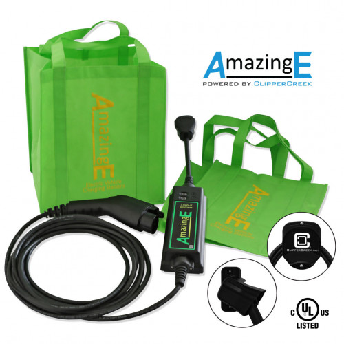 AmazingE Level 2, 16 Amp EV Charging station with NEMA 14-30 plug, J1772 Connector Holster, Cable Wrap Bundle