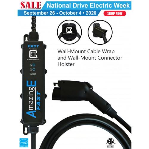 AmazingE FAST Level 2, 32 Amp EV Charging station, Hardwired, J1772 Connector Holster, Cable Wrap Bundle