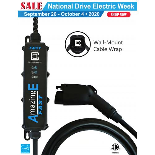 AmazingE FAST Level 2, 32 Amp EV Charging station, Hardwired, Cable Wrap Bundle
